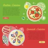 Spanish Cuisine Web Banner. Paella. Jamon. Tapas Royalty Free Stock Photo