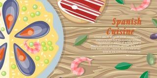 Spanish Cuisine Web Banner. Paella. Jamon. Tapas Stock Image