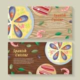 Spanish Cuisine Web Banner. Paella. Jamon. Tapas Stock Photography