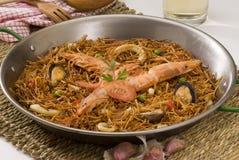 Spanish cuisineSeafood spaghetti.Fideua. royalty free stock photos