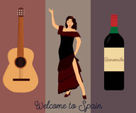 Spanish cultural poster or postcard. Spanish cultural poster with guitar, flamenco dancer and wine Royalty Free Illustration