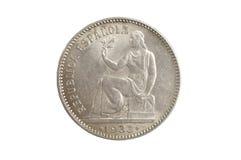 Spanish currency, una peseta, Republica Española 1933 Stock Photography