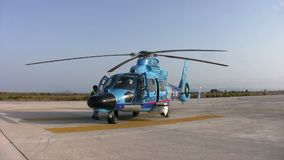 Spanish Customs helicopter. Eurocopter AS-365N-3 Dauphin 2 of the Spanish Customs stopped in San Javier airport stock video footage