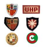 spanish cywilna wojna Tkanin odznaki kilka Baskijskie jednostki obraz royalty free