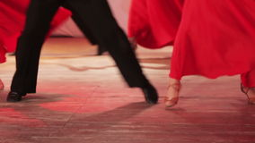 Spanish dance on stage. On stage legs dancing ballet single stock video