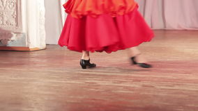 Spanish dance on stage. On stage legs dancing ballet single stock video footage