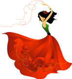 Spanish dancer. With red skirt, dancing flamenco