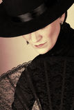 Spanish Dancer. In a black costume with hat and accessories royalty free stock photos