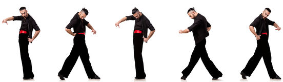 The spanish dancer in various poses on white Royalty Free Stock Images