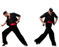 The spanish dancer in various poses on white Stock Image