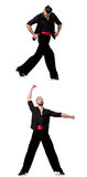 The spanish dancer in various poses on white Stock Photos