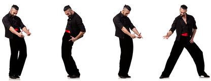 The spanish dancer in various poses on white Stock Images