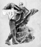 Spanish dancers. An hand drawn illustration, freehand sketching. stock illustration