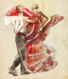 Spanish dancers. An hand drawn illustration, freehand sketching. Line art technique, colored spots, digital painting royalty free illustration