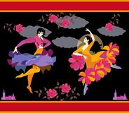 Spanish dancers in national clothes with fan and raincoat in their hands in form of flower and flying bird, dancing flamenco. Against night sky, moon and clouds royalty free illustration