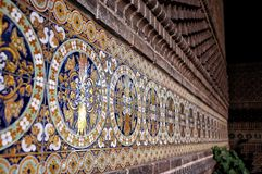 Spanish decorative retro wall tiles, Madrid. Spanish decorative retro wall tiles, Azulejos in  Madrid Stock Photography
