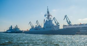 Spanish destroyer in Gdynia harbor. Spanish destroyer ESPS Mendez Nunez during her visit after Northern Coasts 2016 NATO manoeuvres in Gdynia harbor, northern Royalty Free Stock Photos