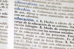 Spanish dictionary definition for education royalty free stock photo