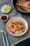 Spanish dish paella with seafood, shrimps in pan Royalty Free Stock Photography