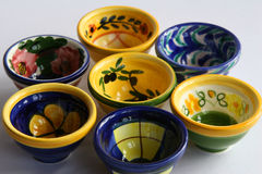 Spanish dishes. Selection of small colourful spanish dishes Stock Images