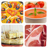Spanish dishes and tapas collage. Collage of some spanish dishes and tapas, such as paella, gazpacho, tortilla de patatas or jamon serrano Stock Photos