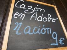 Spanish dogfish marinade menu Royalty Free Stock Image