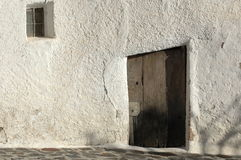 Spanish Doorway Alpujarras. A crooked doorway, Bubion, in the Alpujarras mountains, Spain Royalty Free Stock Photos
