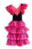 Spanish dress. Pink spanish dress isolated on a white background Stock Photo