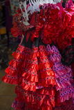 Spanish dresses for sale on a stand. Spanish flamenco dresses for sale on a stand, Barcelona Stock Photography