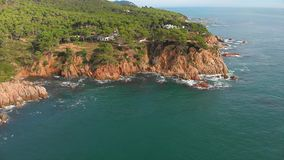 Spanish drone landscape in Costa Brava near the town Palamos stock video footage