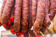 Spanish dry sausages, chorizo in detail Stock Photography
