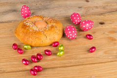 Spanish Easter cake on table royalty free stock images