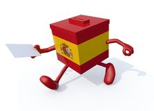 Spanish election ballot box whit arms, legs and envelope paper o. N hands, 3d illustration Stock Photography
