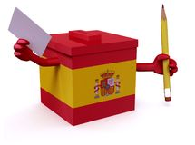 Spanish election ballot box whit arms, legs, envelope paper and. Pencil on hands, 3d illustration Stock Photography