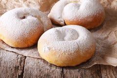 Spanish ensaimadas sweet rolls with powdered sugar close-up Stock Image