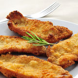 Spanish escalopa de pollo a la milanesa, breaded chicken fillets. A plate with some spanish escalopa de pollo a la milanesa, breaded chicken fillets royalty free stock photo