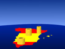 Spanish euro coins. Stacks of Euro coins with map and flag of Spain Royalty Free Stock Photography
