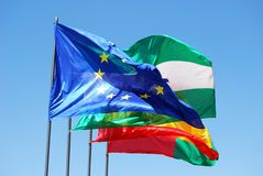 Spanish and European Union flags. Royalty Free Stock Images