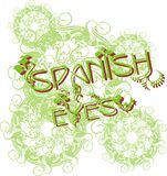 Spanish eyes. Green frame design consisting of flowers and leaves royalty free illustration