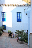 Spanish family in Comares village. Royalty Free Stock Photos
