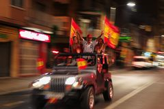 Spanish fan celebrating world champion. Spanish football fans celebrating the winning of football world cup in the streets Stock Image