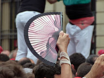 Spanish fan in a crowd Royalty Free Stock Images