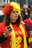 Spanish fan at the olympic park Stock Photo
