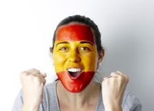 Spanish fan screaming GOAL Royalty Free Stock Images