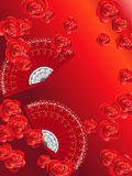 Spanish Fans. Abstract background with spanish fans and roses Royalty Free Stock Photo