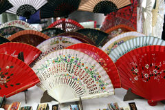 Spanish Fans. For sale at El Rastro fleamarket in Madrid, Spain Royalty Free Stock Photography