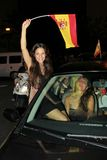 Spanish fans celebrating football world champion. Spanish football fans celebrating the winning of football world cup in the streets Stock Photography