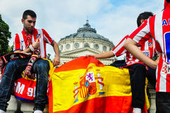 Spanish fans celebrating near Romanian Atheneum Stock Photos