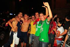 Spanish fans celebrating world champion Stock Photography