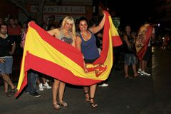 Spanish fans celebrating world champion. Spanish football fans celebrating the winning of football world cup in the streets Stock Photography